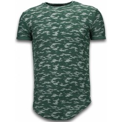 Textiel Heren T-shirts korte mouwen Justing Fashionable Camouflage T-shirt - Long Fit -Shirt Army Pattern - Groen