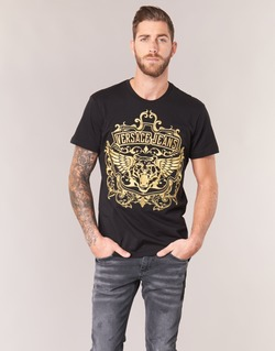Textiel Heren T-shirts korte mouwen Versace Jeans B3GQB7T2 Zwart / Goud