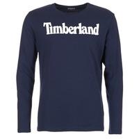 Textiel Heren T-shirts met lange mouwen Timberland LINEAR LOGO PRINT RINGER Marine