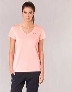 Textiel Dames T-shirts korte mouwen Under Armour TECH SSV - TWIST Koraal