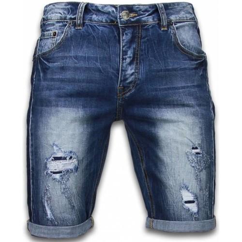 Textiel Heren Korte broeken / Bermuda's Enos Korte Broeken Torn Look Shorts Blauw