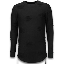 Textiel Heren Sweaters / Sweatshirts Justing Destroyed Look Trui - Side Laces Long Fit Sweater - Zwart