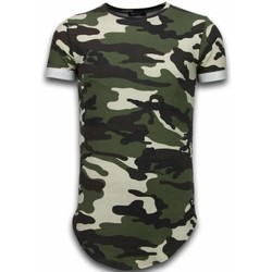 Textiel Heren T-shirts korte mouwen Uniplay Known Camouflage T-shirt - Long Fit Shirt Army 25