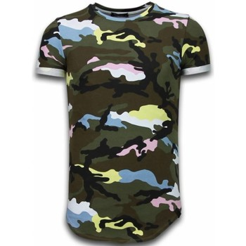 Textiel Heren T-shirts korte mouwen Uniplay Known Camouflage T-shirt - Long Fit Shirt Army Roze