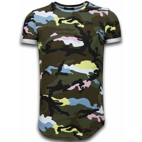 Textiel Heren T-shirts korte mouwen Tony Backer Known Camouflage T-shirt - Long Fit -Shirt Army - Pink Roze