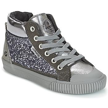 Schoenen Meisjes Hoge sneakers Victoria BOTA PIEL PU/GLITTER Zilver