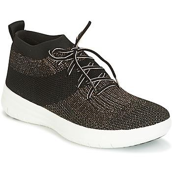 Schoenen Dames Hoge sneakers FitFlop UBERKNIT SLIP-ON HIGH TOP SNEAKER Zwart / Brons
