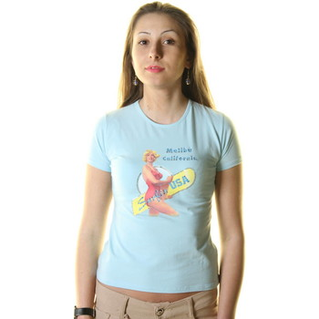 Textiel Heren T-shirts korte mouwen Just For You STSS1 SURF LIGHT BLUE