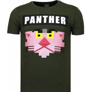 Textiel Heren T-shirts korte mouwen Local Fanatic Panther For A Cougar Rhinestone Groen
