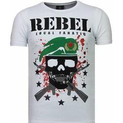 Textiel Heren T-shirts korte mouwen Local Fanatic Skull Rebel - Rhinestone T-shirt 1