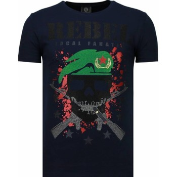 Textiel Heren T-shirts korte mouwen Local Fanatic Skull Rebel - Rhinestone T-shirt 19