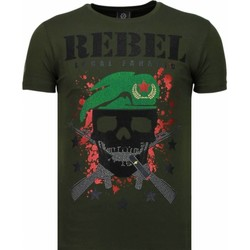 Textiel Heren T-shirts korte mouwen Local Fanatic Skull Rebel Rhinestone Groen