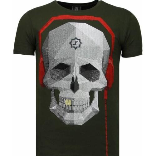 Textiel Heren T-shirts korte mouwen Local Fanatic Skull Bring The Beat Rhinestone Groen