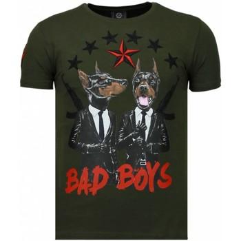 Textiel Heren T-shirts korte mouwen Local Fanatic Bad Boys Pinscher - Rhinestone T-shirt - Groen