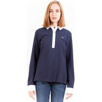 Textiel Dames Polo's lange mouwen Gant 1403.406106 Polo shirt long sleeves Women blue 413 blue 413