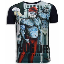 Textiel Heren T-shirts korte mouwen Local Fanatic Thug Life Digital Rhinestone Blauw