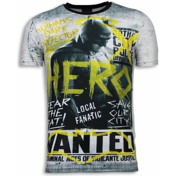 Textiel Heren T-shirts korte mouwen Local Fanatic Wanted Gothams Hero Digital Rhinestone Wit