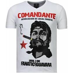 Textiel Heren T-shirts korte mouwen Local Fanatic Che Guevara Comandante - Rhinestone T-shirt 1