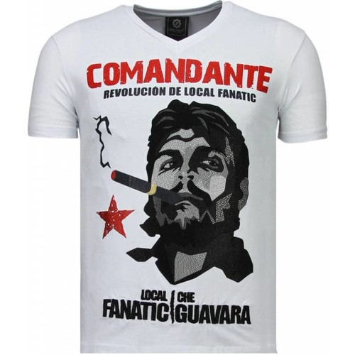 Textiel Heren T-shirts korte mouwen Local Fanatic Che Guevara Comandante Rhinestone Wit