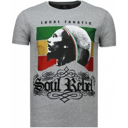 Textiel Heren T-shirts korte mouwen Local Fanatic Soul Rebel Bob Rhinestone Grijs