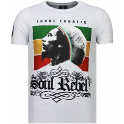 Textiel Heren T-shirts korte mouwen Local Fanatic Soul Rebel Bob Rhinestone Wit
