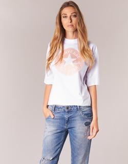 Textiel Dames T-shirts korte mouwen Converse SATIN CP MOCK NECK TEE Wit