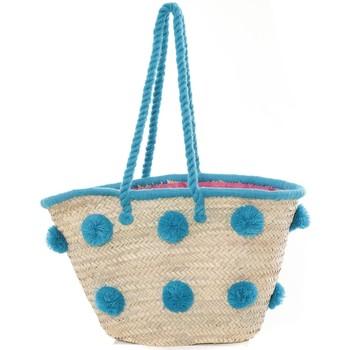 Tassen Dames Tote tassen / Boodschappentassen Very Bag Street Sac Paille pompons Mutli  Bleu Blauw