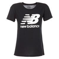 Textiel Dames T-shirts korte mouwen New Balance NB LOGO T Zwart / Wit