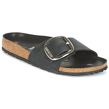 Schoenen Dames Leren slippers Birkenstock MADRID BIG BUCKLE Zwart / Mat