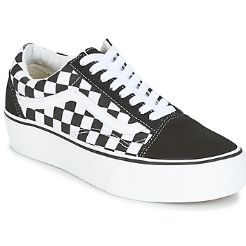 vans old skool platform zwart wit