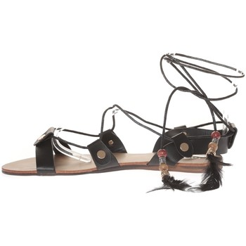 Schoenen Dames Sandalen / Open schoenen Nice Shoes Sandale  Noir attache corde SP7085-NR Zwart