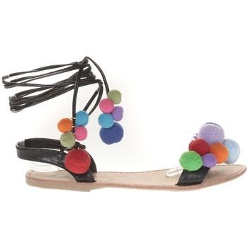Schoenen Dames Sandalen / Open schoenen Vera & Lucy Sandale Noir avec pompons 900-2 Zwart