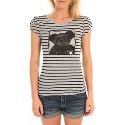 Textiel Dames T-shirts korte mouwen LuluCastagnette T-Shirt Liss Rayure Gris Grijs