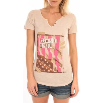 Textiel Dames T-shirts korte mouwen LuluCastagnette T-Shirt Mimi Flamme Print Beige Beige