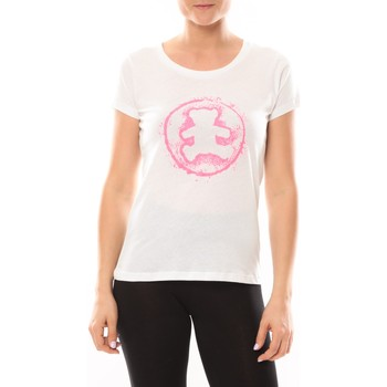 Textiel Dames T-shirts korte mouwen LuluCastagnette T-shirt Happy Blanc Wit