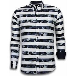 Textiel Heren Overhemden lange mouwen Tony Backer Blouse Big Stripe Camouflage Pattern Wit