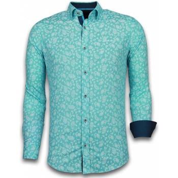Textiel Heren Overhemden lange mouwen Tony Backer Italiaanse Overhemden - Slim Fit -  Leaves Pattern - Turqoise Turquoise