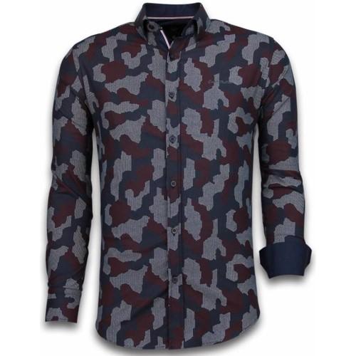 Textiel Heren Overhemden lange mouwen Tony Backer Italiaanse Overhemden - Slim Fit -  Dotted Camouflage Pattern - Zwart