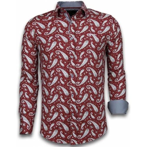 Textiel Heren Overhemden lange mouwen Tony Backer Italiaanse Overhemden - Slim Fit -  Flower Pattern -
