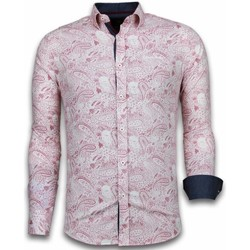 Textiel Heren Overhemden lange mouwen Tony Backer Italiaanse Overhemden - Slim Fit -  Allover Flower Pattern - Rood