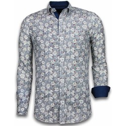 Textiel Heren Overhemden lange mouwen Tony Backer Italiaanse Overhemden - Slim Fit -  Drawn Flower Pattern - Blauw