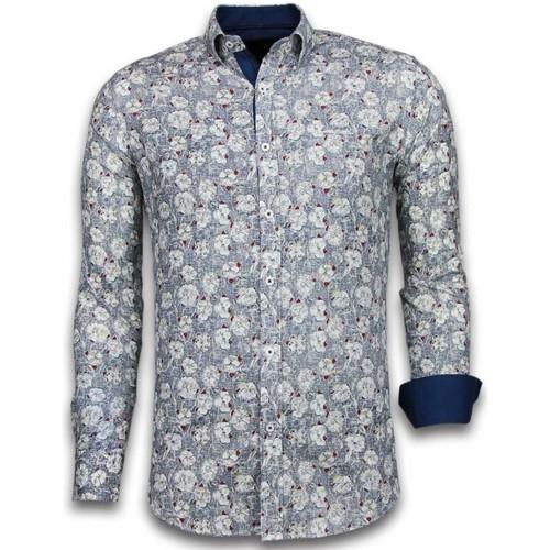 Textiel Heren Overhemden lange mouwen Tony Backer Italiaanse Overhemden - Slim Fit -  Drawn Flower Pattern - Blauw