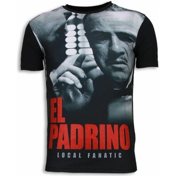 Textiel Heren T-shirts korte mouwen Local Fanatic El Padrino Face Digital Rhinestone Zwart