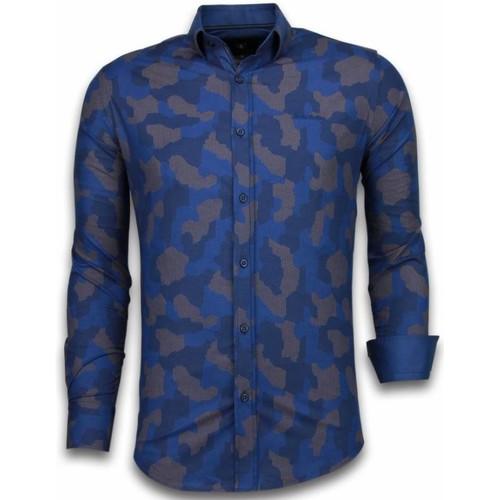 Textiel Heren Overhemden lange mouwen Tony Backer Italiaanse Overhemden - Slim Fit -  Dotted Camouflage Pattern - Blauw