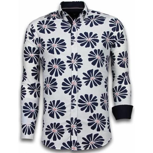 Textiel Heren Overhemden lange mouwen Tony Backer Italiaanse Overhemden - Slim Fit -  Big Leave Pattern - Wit