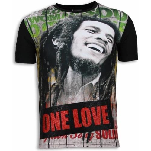 Textiel Heren T-shirts korte mouwen Local Fanatic Bob Marley One Love Digital Rhinestone Zwart