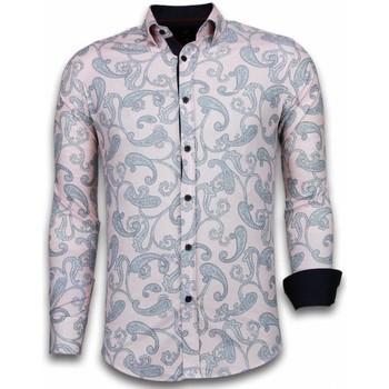 Textiel Heren Overhemden lange mouwen Tony Backer Italiaanse Overhemden - Slim Fit -  Baroque Pattern - Roze