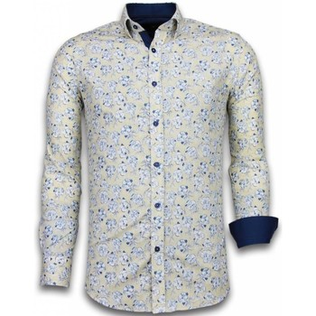 Textiel Heren Overhemden lange mouwen Tony Backer Italiaanse Overhemden - Slim Fit -  Drawn Flower Pattern - Beige