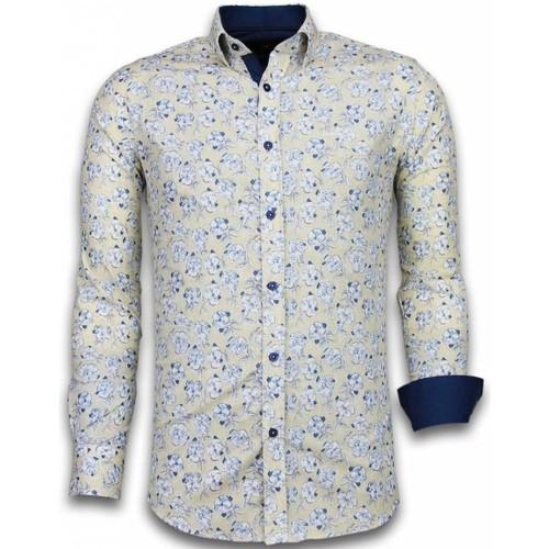 Textiel Heren Overhemden lange mouwen Tony Backer Blouse Drawn Flower Pattern Beige