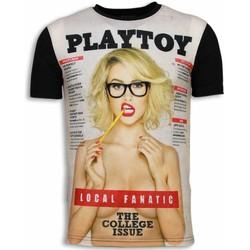 Textiel Heren T-shirts korte mouwen Local Fanatic Playtoy The College Issue - Digital Rhinestone T-shirt 38